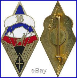 18° Bataillon Parachutiste de Choc, émail, voile blanche, PLAT, A. Mardini