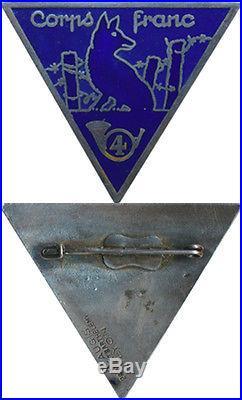 4° Bataillon de Chasseurs, Corps Franc, émail, dos lisse gravé, A. Augis St. B