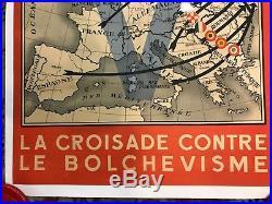 Affiche Propagande Lvf Collaboration Volontaire Croisade Anti Bolcho 1939-45 Ww