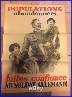 Affiche propagande allemande soldat allemand casque 1939-1945