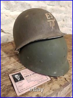Ancien casque us 1944 Cherbourg militaria ww2