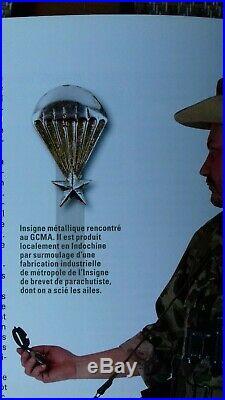 Ancien insigne argent parachutiste GCMA indochine old silver paratrooper badge