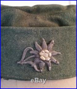 Bergmütze Gebirgsjäger Heer avec couvre casquette blanc ORIGINALE WWII