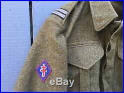 Blouson Battledress France Libre 1ère D. F. L. 1944 monté dorigine