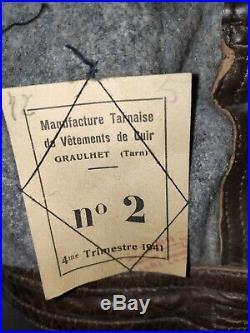 Blouson Cuir brun CJF Chantier de Jeunesse daté 1941 ORIGINAL