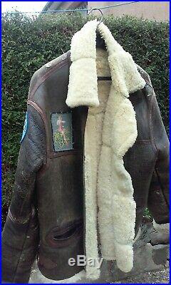 Blouson de vol pilote us cuir mouton tres chaud époque inconnue