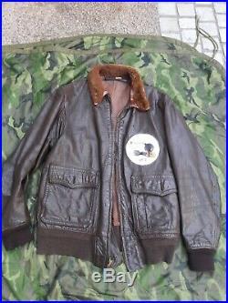 Blouson us G1 cuir pilote de chasse usn avec son insigne VT-1 ww2