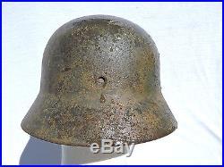 Bon Casque Allemand W. W. 2 1935 + Camouflage 3 Tons Original Pas Copie