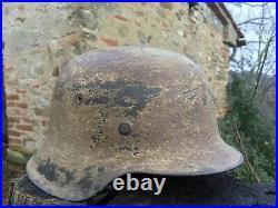 CASQUE ALLEMAND M42 CAMO JAUNE BRUN D'ORIGINE helmet helm ww2 desert yellow