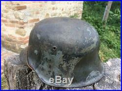 CASQUE ALLEMAND M42 CAMO TROIS COULEURS peu courent D'ORIGINE helmet helm ww2