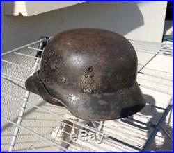 CASQUE ALLEMAND MODELE 1940 WW2 STAHLHELM un insigne GERMAN HELMET M40