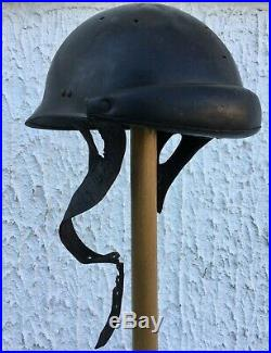 CASQUE CHAR de TANKISTE LIBERATION FRANCE WW2 avec intérieur fragile en cuir