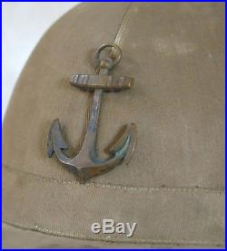 CASQUE COLONIAL, très beau & ancien casque colonial, ancre, WW II