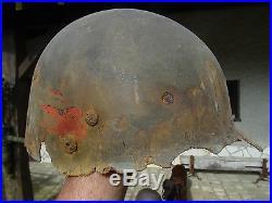CASQUE US WWII 508th PIR DE FOUILLE BATAILLE DES ARDENNES