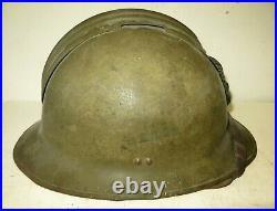 Casque ADRIAN de l' Infanterie de Marine modèle 26 avec insigne modèle 15. WW. 2