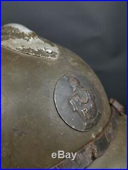 Casque Adrian Modèle 1926 Rondache 1937 Génie France 40 Ww2