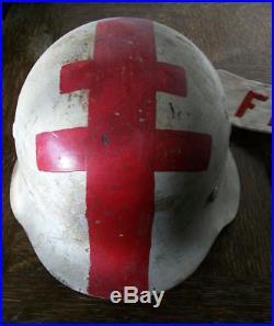 Casque Allemand Rare Lot Casque Et Brassard Brancardier Ffi Utilise En 1944