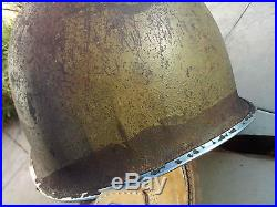 Casque US M1 McCord 1943 fixe jonc avant insigne peint terrain chevron usa army