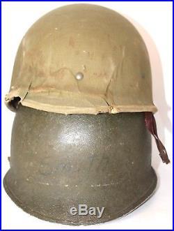 Casque US M1 précoce avec liner carton Hawley type 1 WW2 US helmet first patern