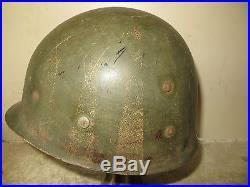 Casque U. S type M. 1, modèle 1942 avec liner. Une barrette blanche encore visible