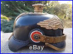Casque a pointe-pickelhaube-allemand-1914-haarbusch-equipement-parade-garde