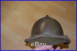 Casque adrian M 1915 premier type sans trou d'insigne pour officier US