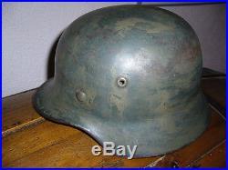 Casque allemad ww 2 modéle 35 camo seconde guerre avec son cuir