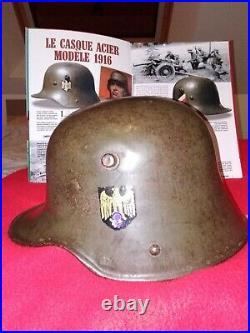 Casque allemand WW2 modèle 16/1934, peinture lisse et claire d origine