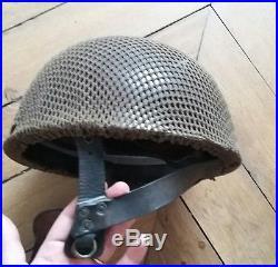 Casque para anglais airborne 1944 jugulaire cuir filet normandie provence