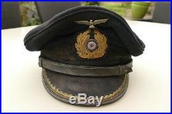Casquette KRIEGSMARINE U BOOT Officer WWII Bleu Inédit Rare
