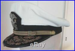Casquette d'Amiral US Navy coiffe blanche 100 % ORIGINALE WW2