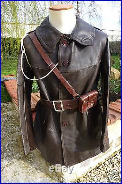Cavalerie char de combat motard veste cuir marron