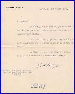 Charles De Gaulle Lettre Signée (novembre 1945) / Au Général Boud'hors /