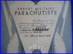 Diplome Du Brevet Parachutiste Fr Tap / Indochine Datee 1952