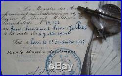 Diplome insigne para parachutiste SAS ffl france libre casque