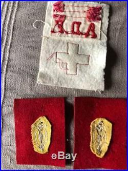 France Libre pattes de cols et insigne AFAT, croix rouge