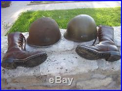 Lot Us Army Gi 1944 Liberation France Casque Et Bottes De Marche Ww2 1ere Armee