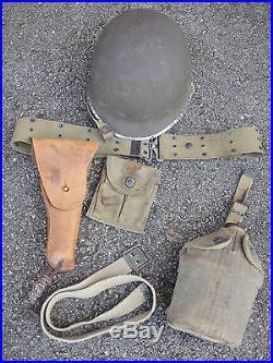 Lot Us Army Ww2 Liberation Casque Etui 45 Gourde 42 Etc