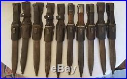 Lot de 10 outils de tranchée allemands WH Heer Waffen même numéro + gousset jus