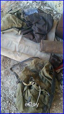 Lot matériel terrain provient grenier normand casque, caisses, bidon 1944 us, wh