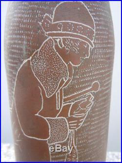 Objet tranchée obus travail de poilu décor personnage femme signé Lamour