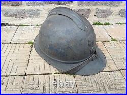 Original beau casque adrian infanterie français bleu horizon ww1! Complet