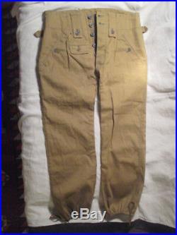 Pantalon TROPICAL WH/DAK Ml43 TOILE VERT-OLIVE authentique! TBE++ Allemagne