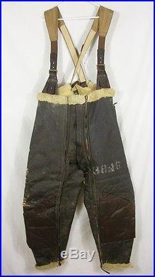 Pantalon cuir salopette WW2 equipage Forteresse volante 2GM 1939-45