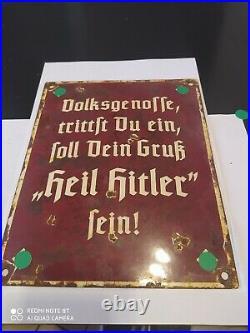 Plaque emaillee allemand WW2