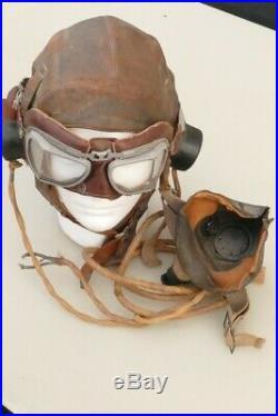 RAF WWII Spitfire / Lancaster etc. Casque Cuir, Lunettes et Masque ORIGINAL