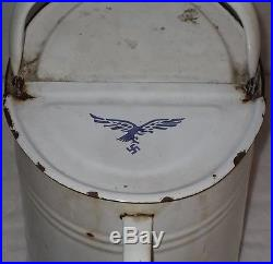 Rare Pot Bidon Huile Aviation Allemande Equipement Luftwaffe Ww2 39 45 No Casque