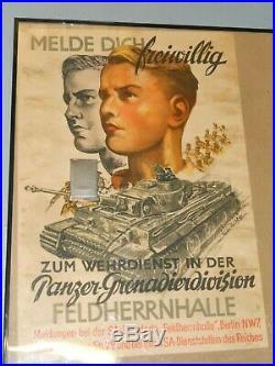 Rare affiche originale PANZER GRENADIER DIVISION FELDHERRNHALLE WW2