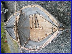 Rare bateau allemand pliable toile bois 4m militaria 39 45 + rames casque us