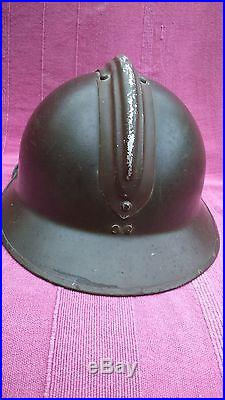 Rare casque de char Adrian modèle 1926 avec rondache EMICC